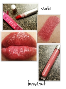 This is the perfect day to night combo using the chateau collection.  The lipstick in starlet is a beautiful red that is amazing moisturizing.   Lovestruck- is a gorgeous baby pink color.  The gloss is not tacky or sticky, but provides a nice hint of color on its own.